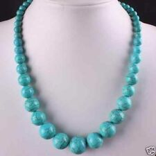 6-14mm Blue Turkey Turquoise Gems Round Beads Necklace 18.5""