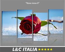 Rosa rossa 3 QUADRO MODERNO ARREDO CASA STAMPA QUADRI TELA ROSE FIORE FIORI