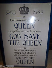 """GOD SAVE THE QUEEN/ NATIONAL ANTHEM, RETRO 12""""X 8"""" METAL SIGN, FREE UK POSTAGE."""