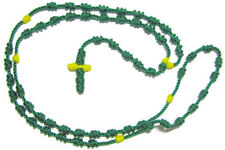 Rope cord St. Jude green knotted rosary beads necklace