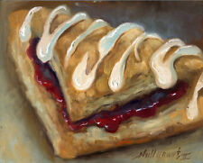 "Cherry Turnover Pastry Dessert, Bakery 8""x10"" Orignal Oil on panel HALL GROAT II"