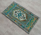 Vintage Distressed Small Area Rug Hand Knotted Oushak Rugs Yastik -1.10 x 3.3 ft