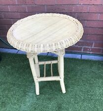 Vintage Wicker Bamboo Rattan Conservatory Coffee Table Plant Stand Tiki Boho