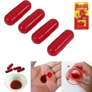 Fake Blood Trick Joke Blood Capsules Horror Vampire Zombie Party Halloween Stage