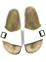 Birkenstock Birki's Womens White Sandals Leather 41 Sz 10 Shoes Slides