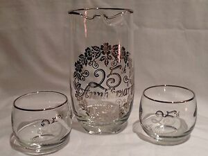 Vintage 25th Silver Anniversary Set Cocktail Drink Pitcher No Handle ~2 Glasses