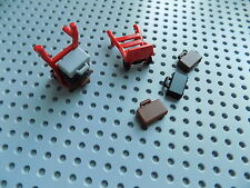 LEGO 2 Minifig Hand Truck 2495 red with 6 pieces of Luggage / Brief Case