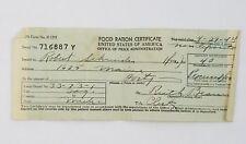 1944 Food Ration Certificate Saginaw Michigan
