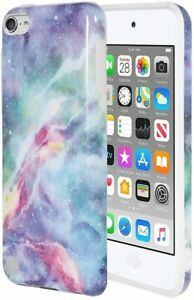 iPod Touch 5th 6th & 7th Gen - Blue Galaxy Marble Stone Hard Gummy Rubber Case