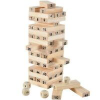 54pcs Wooden Jenga Game Tower Children's Kids Building Block Tumbling Stacking