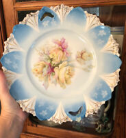 Antique R S PRUSSIA Porcelain Roses Gilt Blue Open Handle Pastry Plate Large