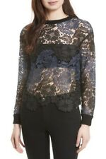 Alice + Olivia Jesse Lace Pullover Sweater Knit Top Size L NWT