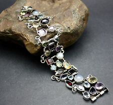 STERLING SILVER GENUINE GEMSTONE BRACELET FAST FREE SHIPPING !!