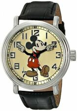 Disney Mens 56109 Vintage Mickey Mouse Watch With Black Leather Band New