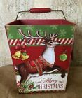 Primitive Country Vintage Style Wooden Christmas Bucket w handle