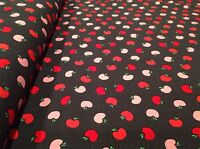 The Big Apple fabric by Kanvas 05853 Black With Red/pink Apples Fine cotton