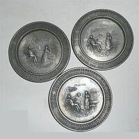 3 x Frieling Zinn  Wandteller   Lindenwirtin  95%  ca. 9 cm