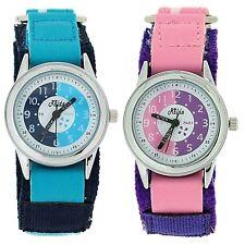 Relda Time Teacher Watch Easy Fasten Boy Girl Childrens Christmas Gift for Kids Set of 2 - Blue & Pink Velcro