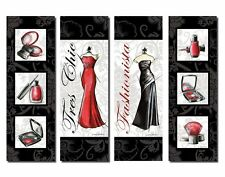 Fashionista Makeup Nail Polish and Dress; Four 6x18in poster prints