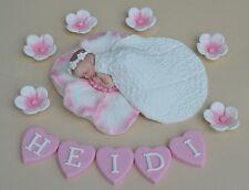Edible personalised baby girls Christening Baptism cake topper decoration
