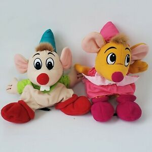 """Disney Store 8"""" Plush Mice Gus and Suzy from Cinderella Mini Bean Bag Lot of 2"""