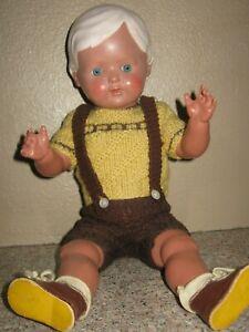 Vintage Schildkrot Celluloid Plastic German Boy Doll- Turtle Mark- Glass Eyes