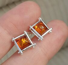 VINTAGE ART DECO JEWELLERY CRAFTED REAL AMBER INSET 925 SILVER STUD EARRINGS