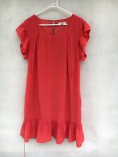Womens Country Road 100% Silk Short Sleeve Embellished  Shift Dress Orange Sz 12