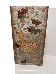 "Fringe Studio Butterfly Botanical Glass Vase Flowers Floral Rectangle 11.5"" Tall"