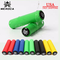 1Pair MEROCA MTB Mountain Bike Non-Slip Silicone Handlebar Grips+End Plugs 130mm