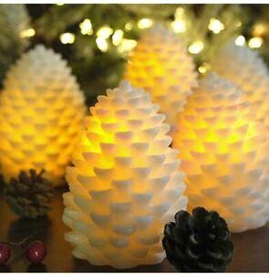 Ivory Eldnacele Battery LED Pine Cone Flameless Flickering Candles Christmas