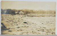 RPPC Homes On river Flooded Between Dam and Bridge  Postcard K11