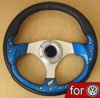 Sportlenkrad Blau Lenkrad für VW GOLF 1 2 3 4 POLO 6n 6n2 9n t4 Passat Corrado