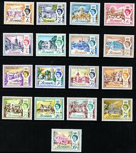 BERMUDA Queen Elizabeth II 1962-68 Complete Set ex 1/6 to £1 SG 163 to 179 MINT