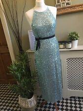ZARA Sequin Midi Dress Halter Neck Side Splits Turquoise SMALL BNWT💕