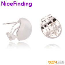 Silver Plated Omega Back Stud Gemstone Earrings Women Jewelry Mother's Day Gifts