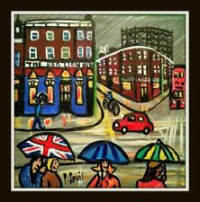 Original Northern Art Oil Painting Phil Lewis : Union Umbrella at The Red Lion
