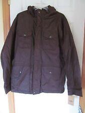 NWT Men's Docker's 100% Nylon hooded 6 pocket fleece lined Brown Size M $160