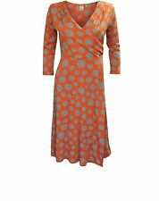 NEW EX BODEN ORANGE SPOT JERSEY WRAP DRESS SIZE 8 10 12 14 16 REG LONG