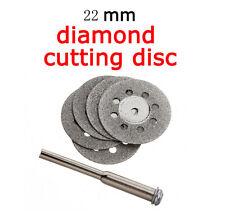 5X 22mm Emery Mini Diamond Rotary Cutting Discs Drill Bit + 1 Mandrel Universal