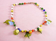 Vintage fantastic glass fruit & flowers neckace - Venetian/Murano/Czech?