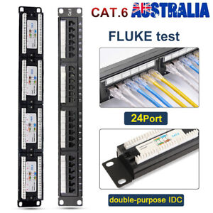 24 Port Way Cat5e Cat6 Patch Panel Rackmount RJ45 Ethernet Network 1U