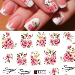 Nail Art Water Transfer Sticker Pink Rose Flower I Love You Decals Manicure