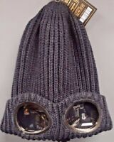 Goggle Beanie Knit Hat - Navy Blue