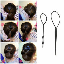 Ponytail Creator Plastic Loop Styling Tools Black Topsy Pony Tail Hair Braid FY