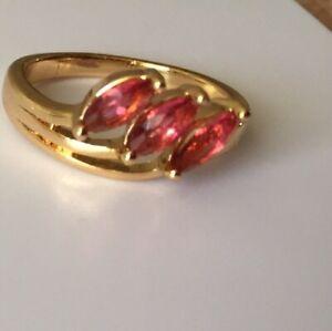 Pretty Red Stones Ring; Size L; Pls. see Photos & Description.