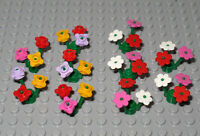 Lego - 10 x Clusters with Triple Stems - Lego Multi Coloured Flowers / Plants