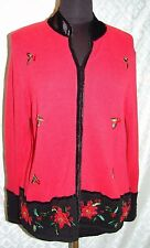 Tiara Christmas Cardigan Sweater 1X Plus Womens Zip Front Holiday Ugly  ? Cute