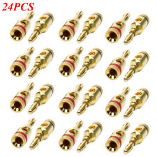 24pcs 24K Gold Plated Banana Plug for speaker Wire Cable Screw Connector 4mm