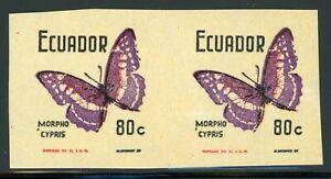 ECUADOR MNH Butterflies Specialized: Scott #803VAR 80c IMPERF Pair $$$